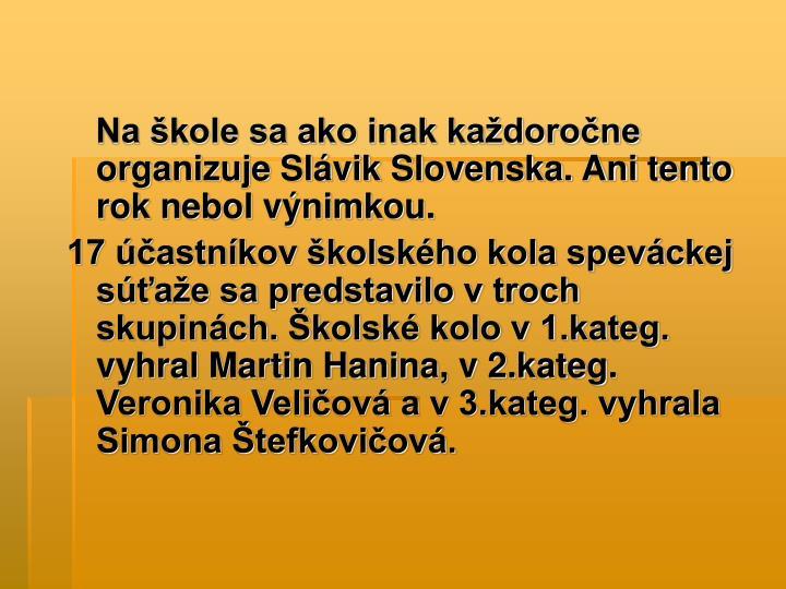 Na škole sa ako inak každoročne organizuje Slávik Slovenska. Ani tento rok nebol výnimkou.