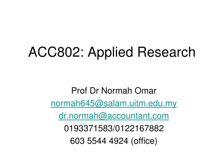 acc802 applied research n.