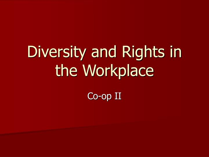 diversity and rights in the workplace n.
