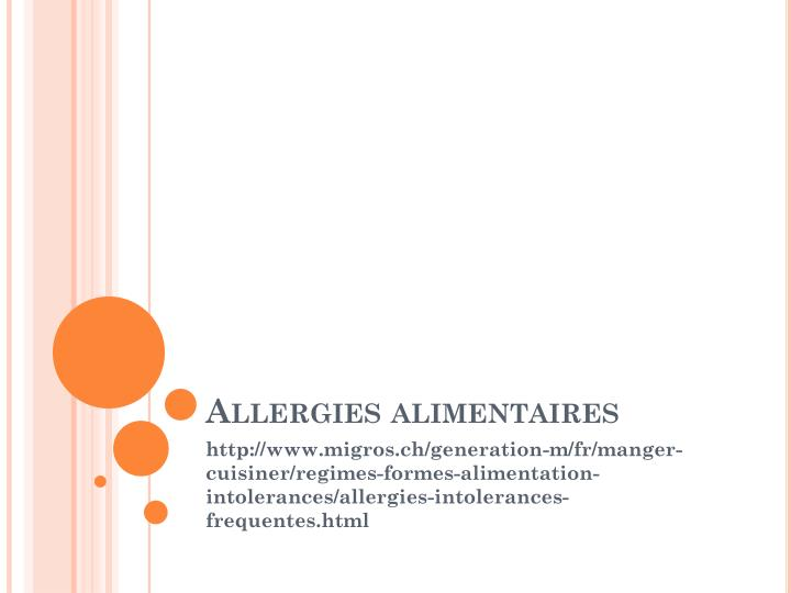 allergies alimentaires n.