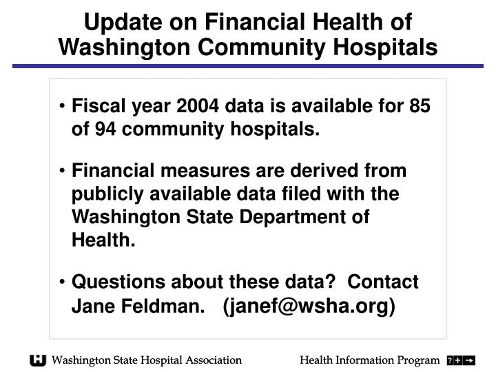 update on financial health of washington community hospitals n.