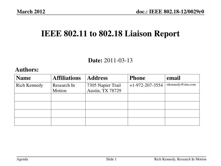 ieee 802 11 to 802 18 liaison report n.