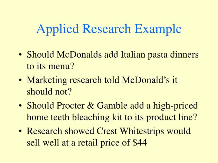 applied research in a sentence
