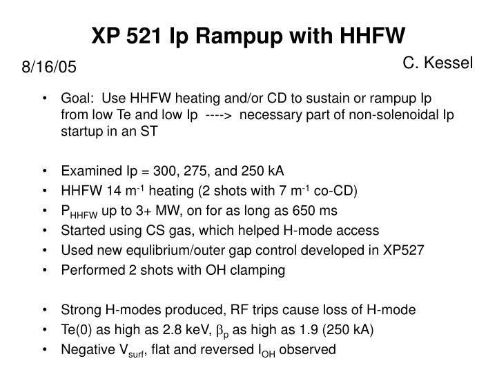 xp 521 ip rampup with hhfw n.