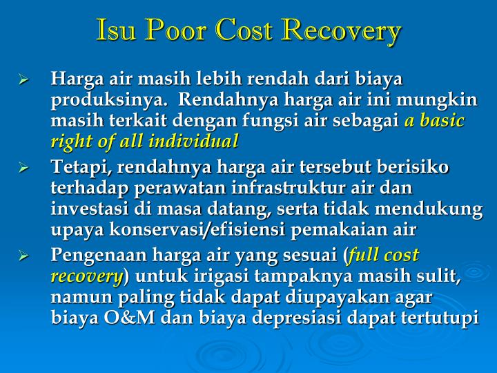 Isu Poor Cost Recovery