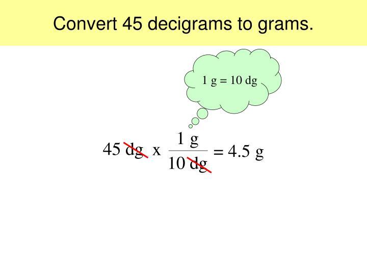 Convert 45 Decigrams To Grams
