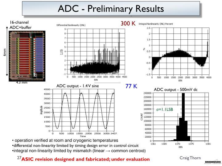 ADC - Preliminary Results