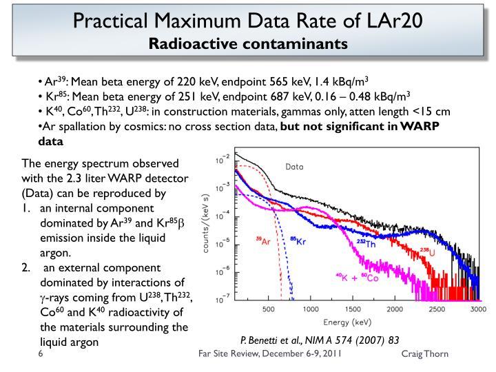Practical Maximum Data Rate of LAr20