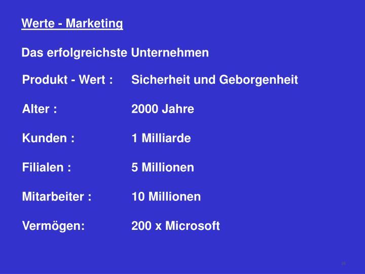 Werte - Marketing