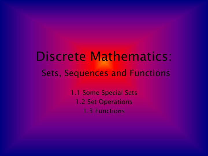 discrete mathematics sets sequences and functions n.