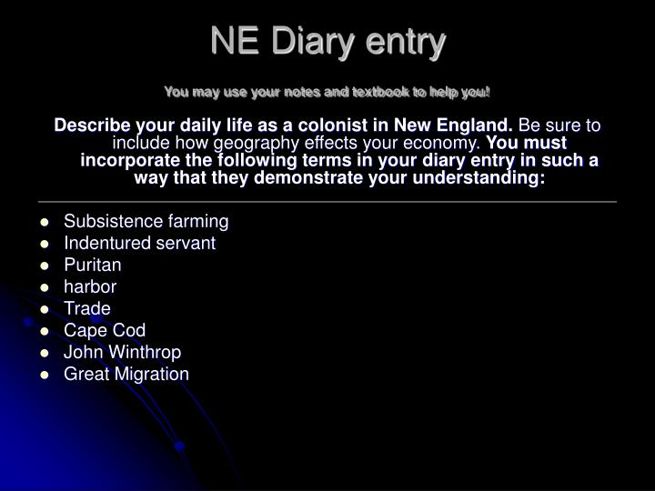 ne diary entry you may use your notes and textbook to help you n.