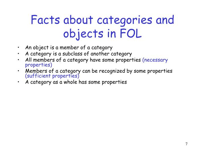 Facts about categories and objects in FOL