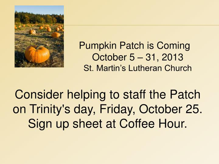 Pumpkin Patch is Coming