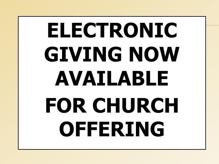 ELECTRONIC GIVING