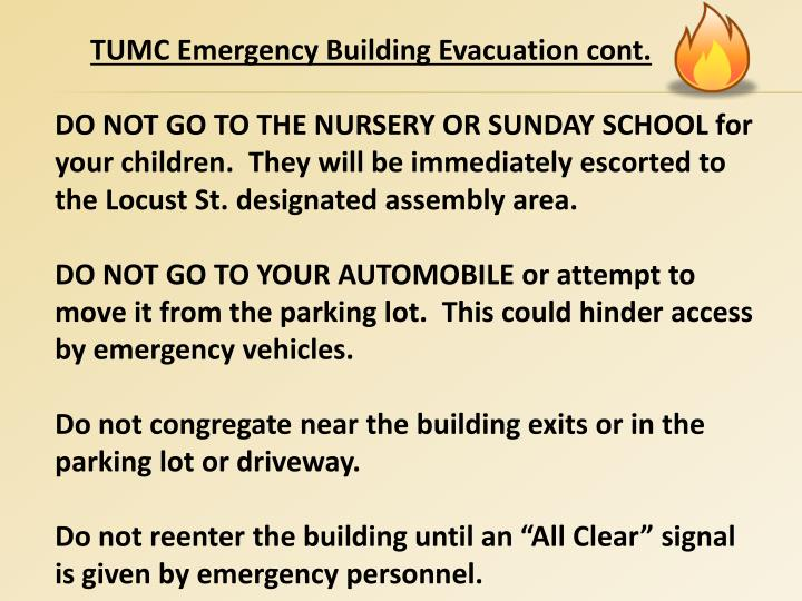 TUMC Emergency Building Evacuation cont.