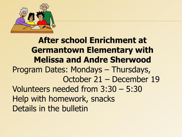 After school Enrichment at Germantown Elementary with