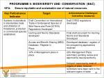 programme 5 biodiversity and conservation b c