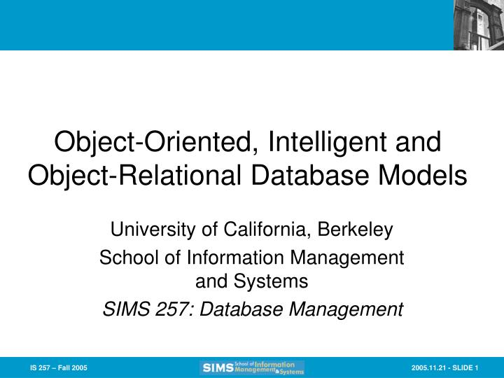 object oriented intelligent and object relational database models n.
