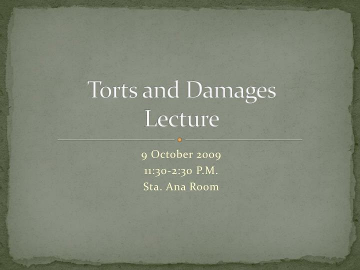 torts and damages lecture n.