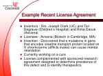 example recent license agreement