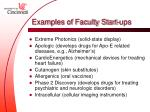 examples of faculty start ups