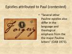 epistles attributed to paul contested