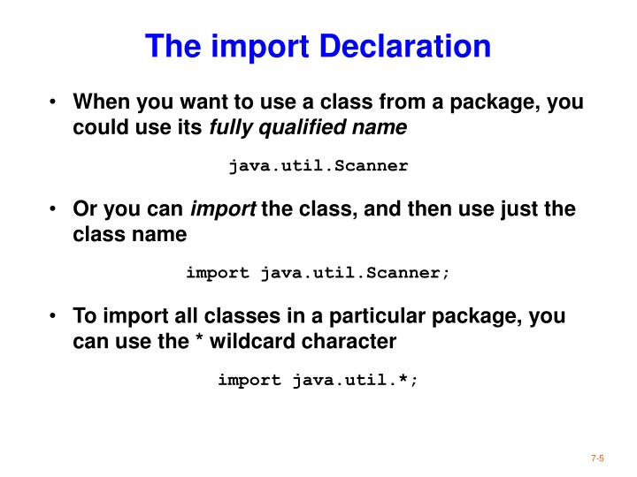 The import Declaration