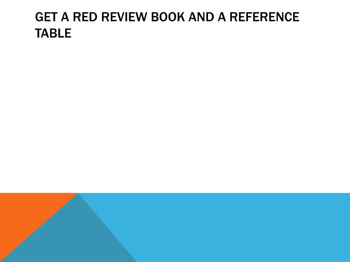 get a red review book and a reference table n.