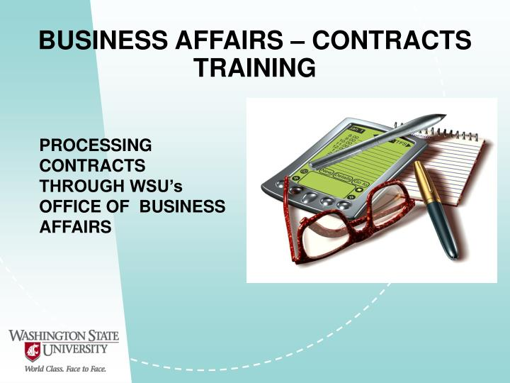 business affairs contracts training n.