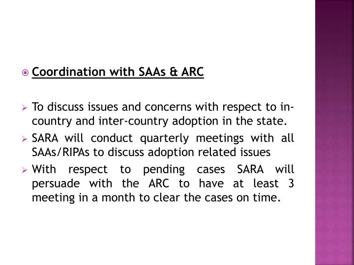 Coordination with SAAs & ARC