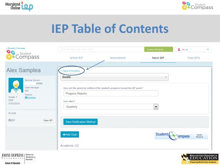 IEP Table of Contents