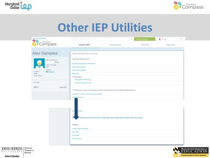 Other IEP Utilities