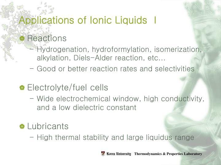 Applications of Ionic Liquids Ⅰ