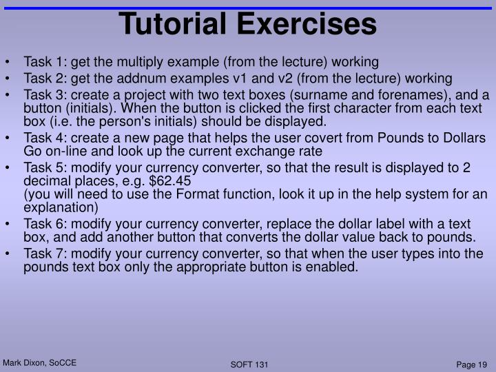 Tutorial Exercises