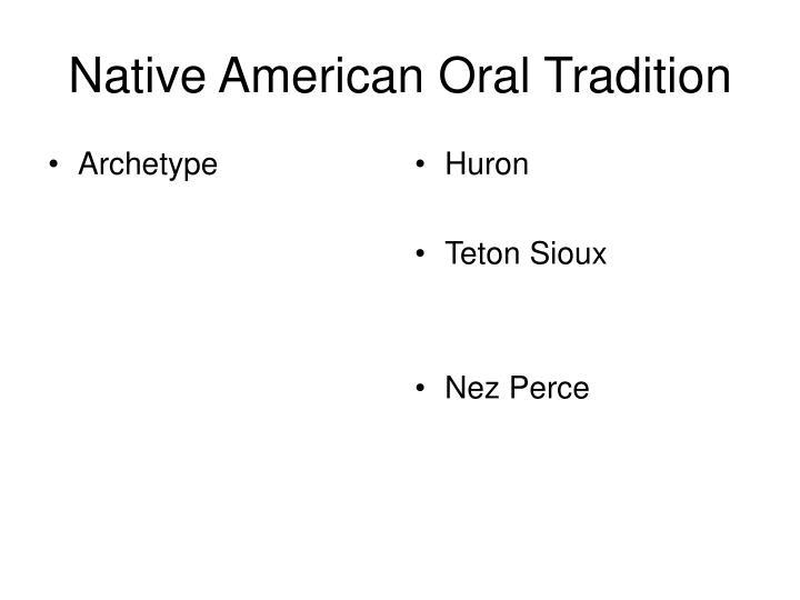 Native american oral tradition