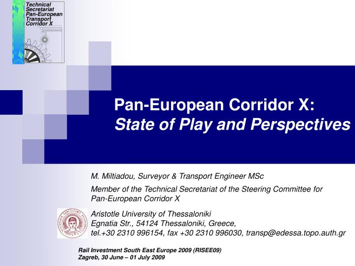 pan european corridor x state of play and perspectives n.