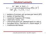 calculated luminosity