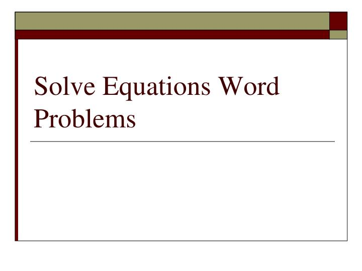 solve equations word problems n.