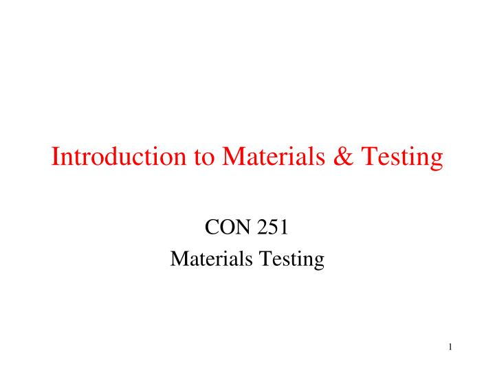 introduction to materials testing n.
