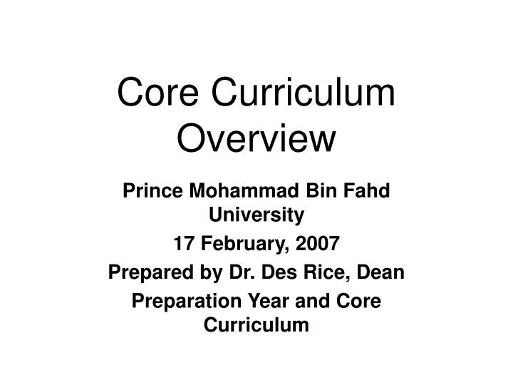 core curriculum overview n.