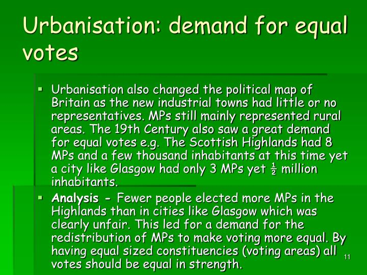 Urbanisation: demand for equal votes