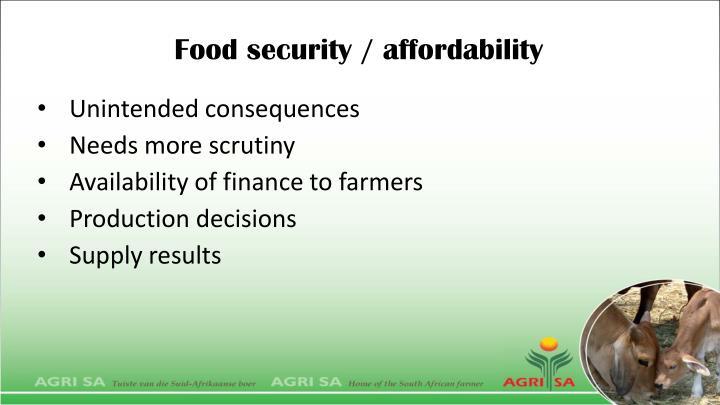 Food security / affordability