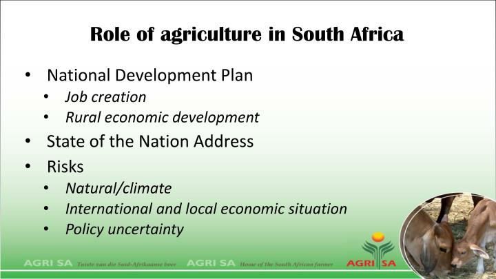 Role of agriculture in South Africa