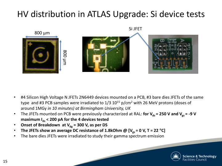 HV distribution in ATLAS Upgrade: Si device tests