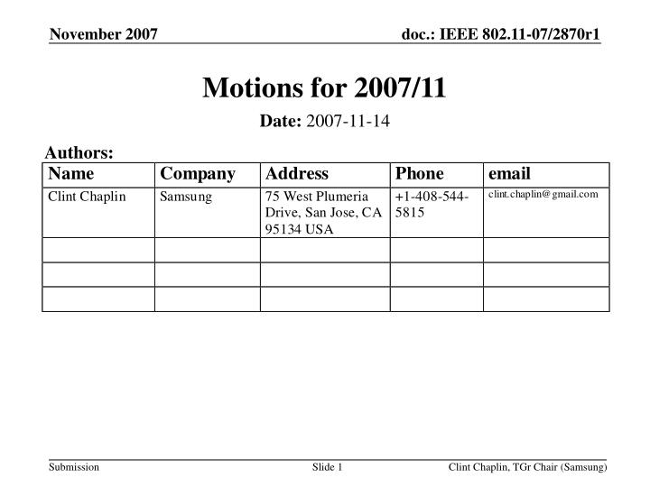 motions for 2007 11 n.