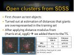 open clusters from sdss
