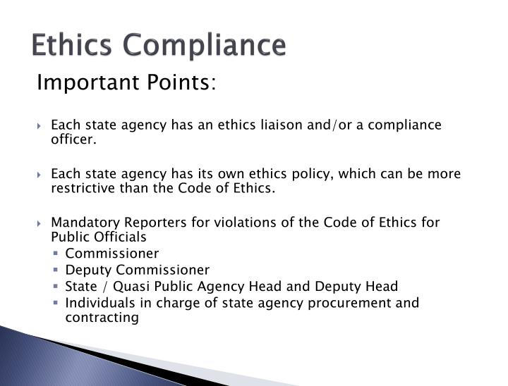 Ppt connecticut office of state ethics public officials and state employees powerpoint - Ethics compliance officer ...