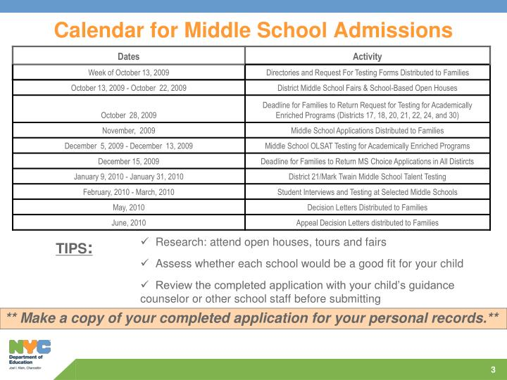 Calendar for middle school admissions