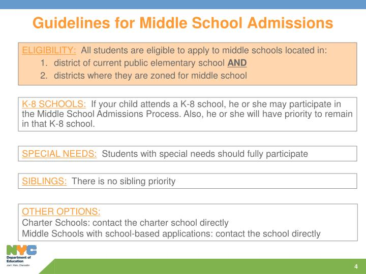 Guidelines for Middle School Admissions