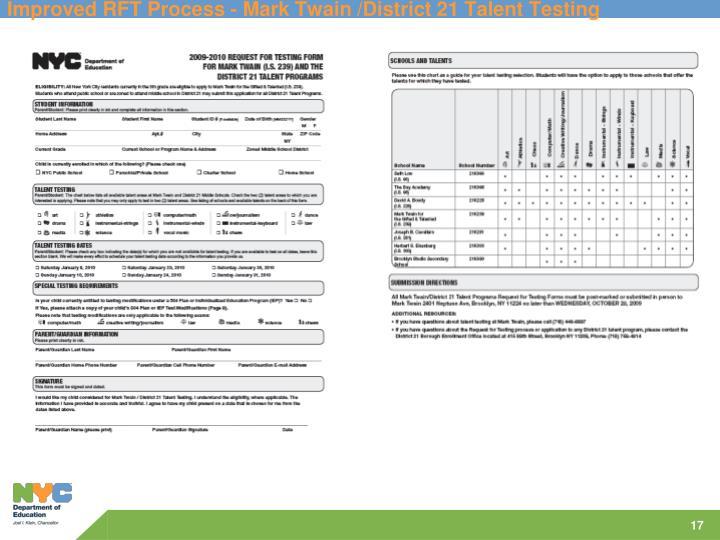 Improved RFT Process - Mark Twain /District 21 Talent Testing